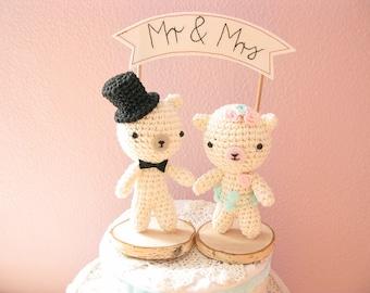 Mr and Mrs Teddy Bear Wedding Cake Topper, Crochet Bear Cake Topper, Amigurumi Animal Cake Topper