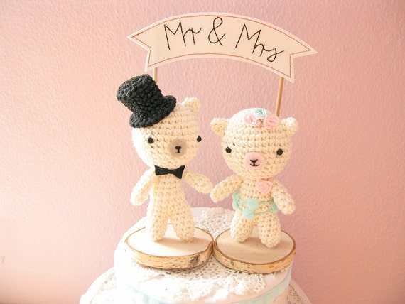 teddy bear wedding cake toppers mr and mrs teddy wedding cake topper crochet cake 20791