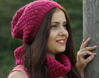 Super chunky chain scarf and hat set,  Infinity Scarf  hat set, New knit fashion, Circle Scarf, chunky scarf