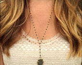Gold Plated Black Agate Arrowhead Rosary Necklace - Stone Necklace