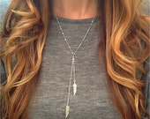 Double Feather Lariat Necklace - Silver