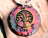 "Dog Tag, Large Dog Tag, Pet ID Tags, Engraved Dog Tag, Custom ID Tag, Pet Accessories (Colorful Tree 1.25"")"