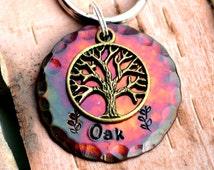 "Dog Tag, Large Dog Tag, Pet ID Tags, Engraved Dog Tag, Custom ID Tag, Pet Accessories (Colorful Tree 1.25"")"