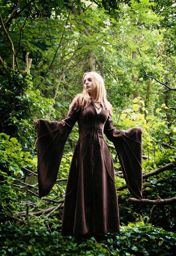 Floor Length Haunted Hawtin Coat - Long Brown Coat - Custom made to order - Halloween - Samhain- Fall - Autumn - Winter  Coat