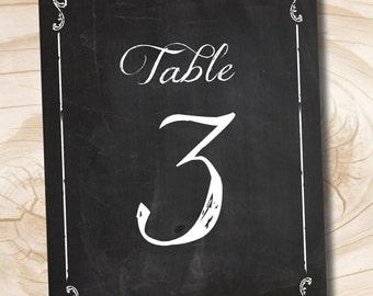 INSTANT DOWNLOAD Vintage Blackboard Chalkboard Table Numbers 1-20, instant download