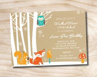 Woodland Winter One-derland Birthday Party Invitation Digital Card- diy, you print, printable