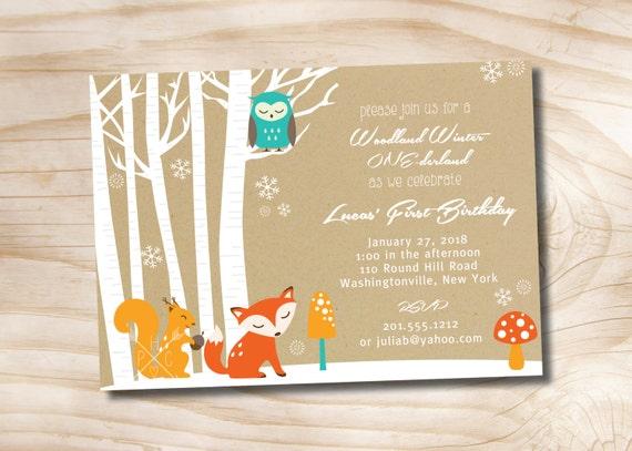 Woodland Winter Onederland Birthday Party Invitation Digital Card