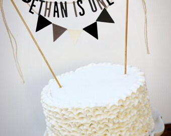 Personalized Cake Banner, Birthday Cake Garland, Birthday Cake Topper, Rocker Cake Banner, Black and Grey Cake Banner