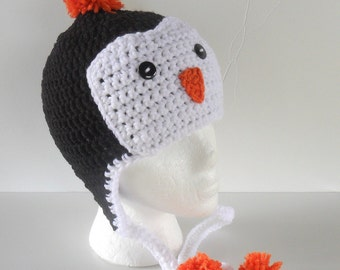 Penguin Hat, Penguin Ear Flap Hat, Penguin