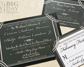1920's style Great Gatsby Wedding Invitation. Hollywood Gatsby Invites. Glitter and Gatsby wedding invitations