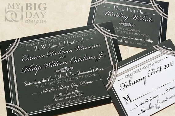Great Wedding Invites: 1920's Style Great Gatsby Wedding Invitation. Hollywood