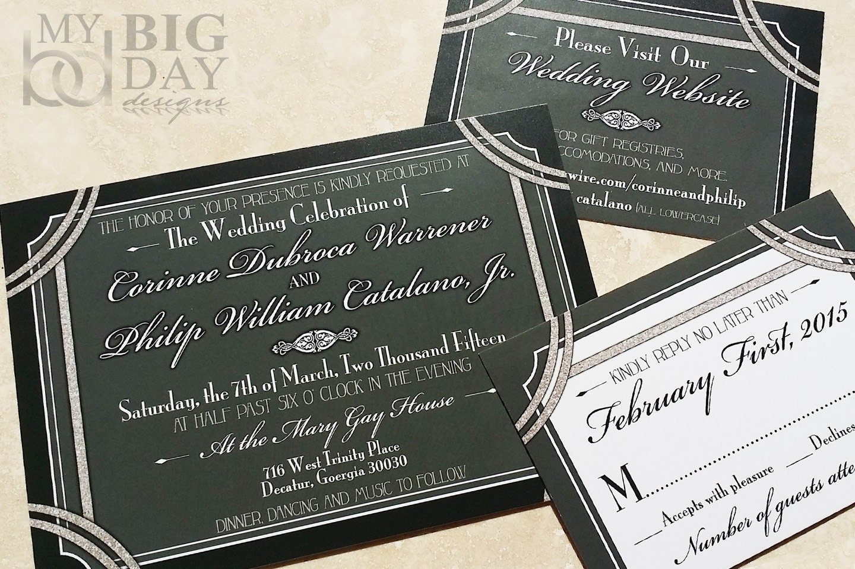 Great Gatsby Wedding Invites: 1920's Style Great Gatsby Wedding Invitation. Hollywood