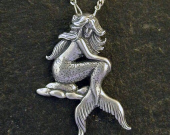 Sterling Silver Mermaid Pendant on a Sterling Silver Chain