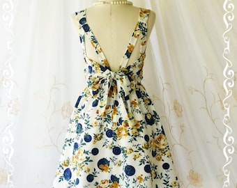 A Party V Backless Floral Dress Spring Summer Sundress Backless Party Prom Dress Floral Wedding Bridesmaid Dress Tea Dress XS-XL Limited