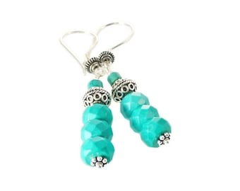 Blue Turquoise Earrings, Dangle Earrings, Sterling Silver,  Turquoise Jewelry,