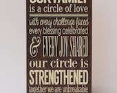 Circle of Love, Our Family, Family Sentiment, Family Room, Home Decor, Art About Family, Families Are Forever, Wood, Sustainable Home Decor