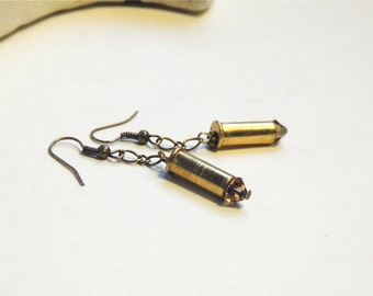 BULLET EARRINGS - brass bullets - Bronze Swaravski Crystals - bullet jewelry - Glammunition - eco-friendly/upcycled jewelry - under 25