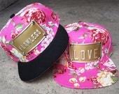 ROJAS flawless love floral pink metal plate snapbacks hat queen pinks flower snapback hats florals rose cap caps princess queen boss roses