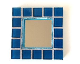 Mosaic Mirror, Blue accent mirror, Small Wall Mirror, decorative mini mirror in blue