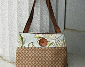 Handcrafted Purse.  Premium fabrics of brown and light blue with a leaf motif