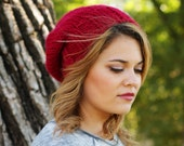 READY TO SHIP- Woman's Knitted Slouchy Hat in Cranberry Red
