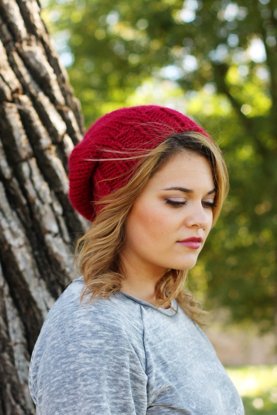 Knitted Slouchy Hat in Cranberry Red - Sizes Toddler, Child and Woman- Other colors available