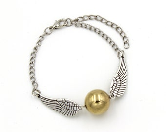 Steampunk Enchanted Magical Wizard FLYING GOLDEN BALL - Bracelet or Necklace - By GlazedBlackCherry