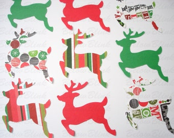 25 Christmas Reindeer punch die cut confetti scrapbook embellishments craft supplies - No932