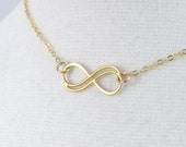 Gold double infinity necklace, Small gold fill necklace, infinity knot pendant, infinity symbol jewelry, Mother child necklace friendship