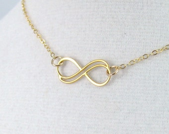Gold double infinity necklace, Mother child necklace, infinity knot pendant, infinity symbol jewelry, Small gold fill necklace, friendship