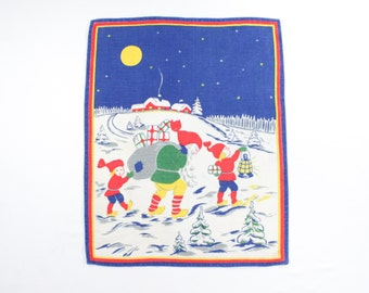 Vintage Christmas Wall Hanging - Santa and Elves Deliver Presents - European Styled Xmas Linen table topper or Placemat