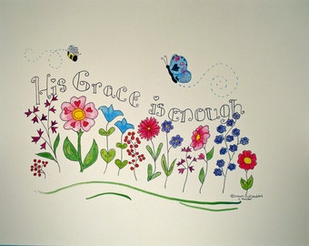 Christian Art Print original design typography whimsical floral scripture art  8X10