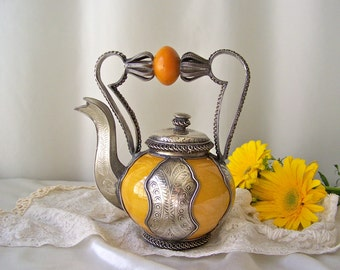 Vintage Decorative Teapot Moroccan Ceramic Teapot Home Decor Amber Ceramic Nickel Plate 1990s