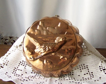 Vintage Copper Kitchen Mold Road Runner Copper Mould Embossed Desert Bird Mold Kitchen Wall Hanging Country Kitchen