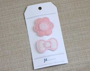 No slip baby toddler clip baby pink and white daisy flower clip and white bow clip 100% Wool clip set