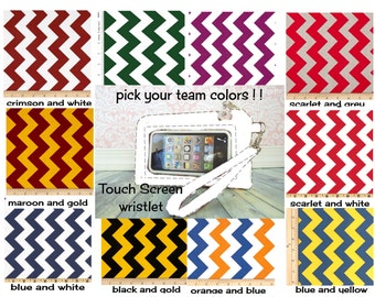cell phone wristlet, iphone wristlet, Keep in Touch Wristlet, stadium approved size, football, team colors, sports, chevron