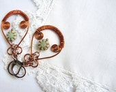 chateau - earrings with copper wire and a czech glass bead