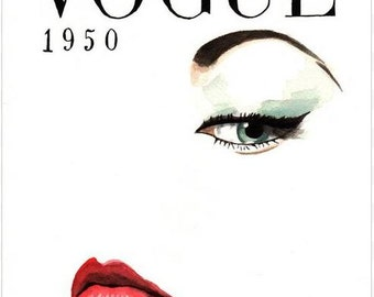 Vintage Vogue Magazine Cover. Enhanced Matte Print. Large Format