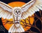 SALE - Halloween ACEO Giclee Print - Owl - Bird Moon Tree SFA Art Safyre Studios