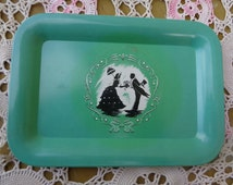 Small Vintage Metal Shadow Silhouette Black and White Victorian Couple Romance SceneTray Serving Vintage Kitchen 120