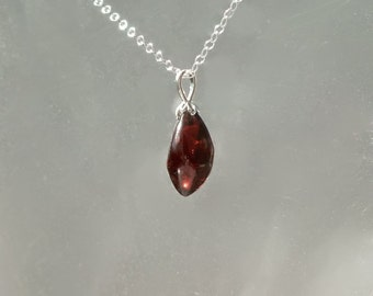 Rhodolite Pendant  -  Custom Freeform Cut in  Recycled Silver  Red Garnet Necklace
