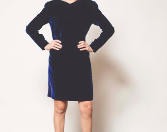 Vintage Blue Velvet Cocktail Dress