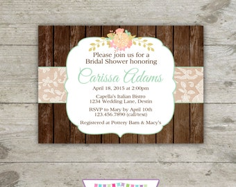 RUSTIC WOOD & LACE - Bridal or Baby Shower 5x7 Invitation Printable