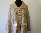Romantic knitted Oatmeal Wool Capelet with Brass Rose buttons - Free size