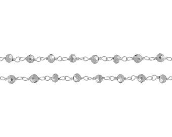 Sterling Silver 3mm Faceted Pyrite Rosary Chain - 10ft (6845-10) 20% discounted High quality
