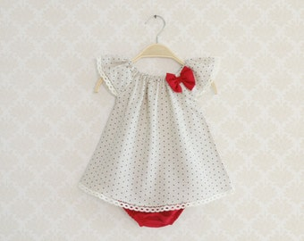 Baby Valentine's Outfit, Pure Linen Baby Set, Elegant Outfit for baby girl,  Little Girl dress Set, Cream Dots Dress for Baby Girl