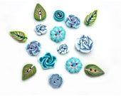 Polymer clay Blue flower buttons Set of 15, leaves,  blue turquoise green, DIY craft supplies, DIY supply embroidery scrapbooking charms