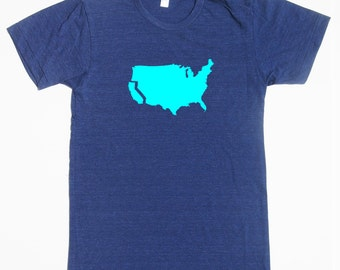 Men's California t shirt- American Apparel -tri blend indigo- available in S, M, L, XL, XXL- Worldwide Shipping