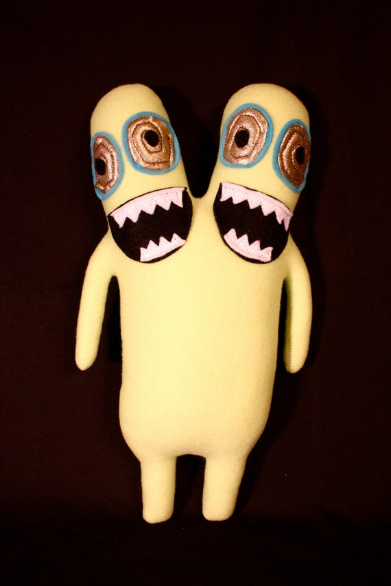MINI PLUSH MONSTER Luchados in Light Green with Two Heads and Gold Eyes