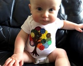 Rainbow Tree ~ Baby Onesie,3-9 months, made from recycled materials, one-of-a-kind